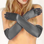 Long black satin gloves on a model, reaching over her elbow by about two inches.
