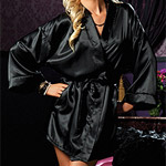 A gorgeous black silk robe being worn by a woman.